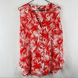Women's Suzannegrae Red Floral Button Down Sleeveless Blouse Size 14